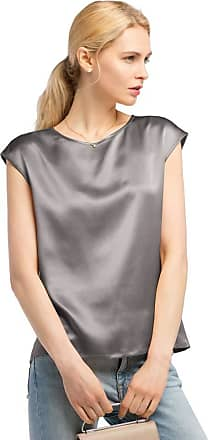 LilySilk Basic Cap Sleeves 22MM Silk T Shirt Relaxed Fit Round Neck Shirt for Ladies (10/S, Grey)