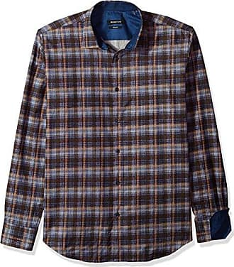 Bugatchi Mens Shaped Fit Long Sleeve Printed Plaid Cotton Shirt, Truffle, L