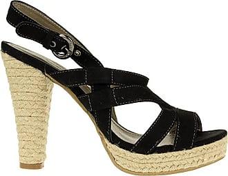 Mustang 3028801 Black High Heel Sneakers Ladies Shoes Wow - Black, 5