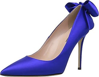 5b2fe4d0b1 SJP by Sarah Jessica Parker Womens Lucille Pointed Toe Bow Pump, Expert  Blue Sat,