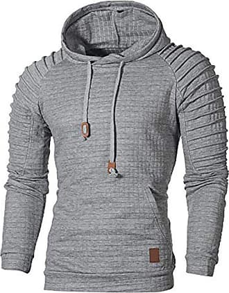 ZYUEER Mens Casual Tops Fashion Autumn Long Sleeve Plaid Hooded Hooded Outwear Sweatshirt (Gray, XL)