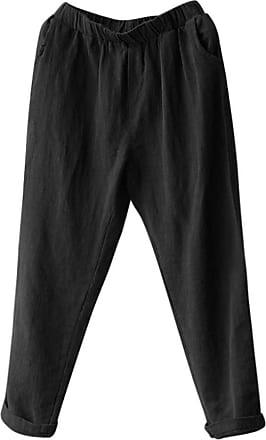 QUINTRA Plus Size Women Linen Harem Pants Baggy Loose Trousers Casual Lady (4XL, Black)
