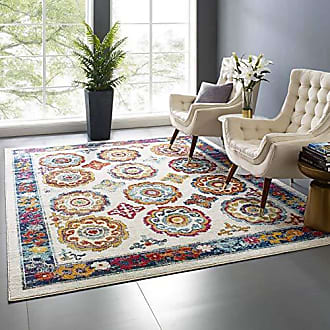 ModWay Odile Transitional Distressed Vintage Floral Moroccan Trellis Area Rug, 8x10, Ivory, Blue, Red, Orange, Yellow