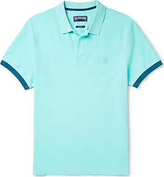 Vilebrequin Palatin Contrast-tipped Cotton-piqué Polo Shirt - Light blue