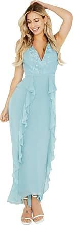 Little Mistress Clarita Blue Plunge Maxi Dress with Lace 10 UK Glacier