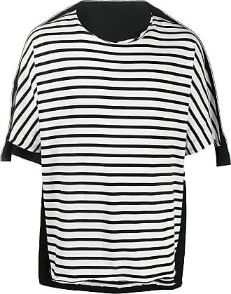 Fumito Ganryu Camiseta com recortes e estampa de listras - Preto