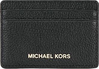 Michael Michael Kors Porta-cartões de couro com logo - Preto