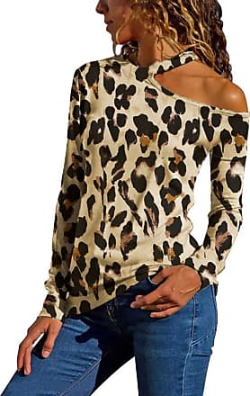 NPRADLA Womens Sexy One Shoulder Cutout Contrast Stitching Leopard Long Sleeve T-Shirts Blouse Tops Sweatshitt Khaki