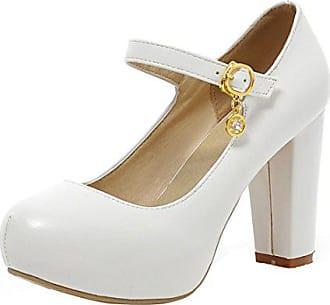 Aiyoumei. Dicker Absatz High Heels Pumps mit Knöchelriemchen und Plateau  Kleid Schuhe Hochzeit Damen f4add70dba