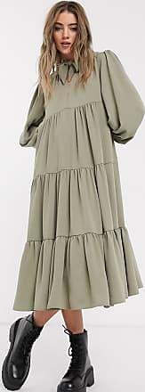 Topshop tiered midi dress in khaki-Green