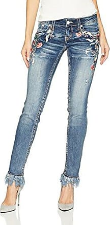 Grace in LA Womens Boho Embroidered Bootcut Jeans