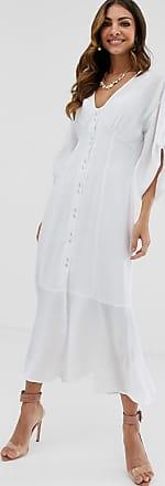 Asos Doorgeknoopte maxi-jurk met textuur en strook-Wit