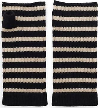 Somerville Stripe Cashmere Wrist Warmers Black Camel