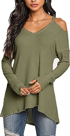 Yoins Yoins Women Cold Shoulder Baggy Shirt Long Sleeves Knitted Top Shoulder off Blouses X-Small UK 4 Green