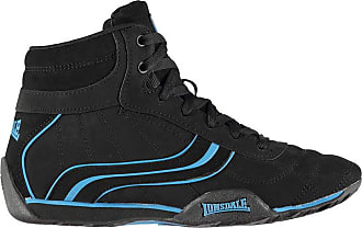 Lonsdale Mens Camden Mid Trainers Lace Up Stitched Detailing Textured Black/Blue UK 11 (46)