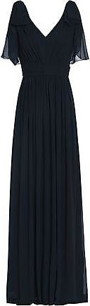 Badgley Mischka Badgley Mischka Woman Bow-embellished Pleated Georgette Gown Navy Size 0