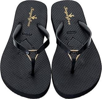 Sugarfree Black flip flops with metallic detail