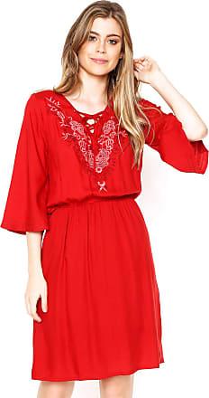 Enfim Vestido Enfim Curto Bordado Vermelho