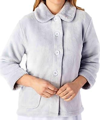 Slenderella Ladies 3/4 Sleeve XXX Large Soft Grey Soft Coral Fleece Button Up Bed Jacket Coat Size 28 30