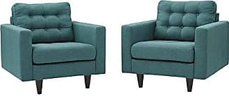 ModWay Empress Mid-Century Modern Upholstered Fabric Two Armchair Set in Teal