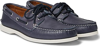 Quoddy Downeast Leather Boat Shoes - Navy