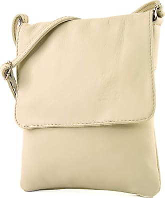 modamoda.de ital leather shoulder bag Messenger bag ladies small T 34, Colour:cream