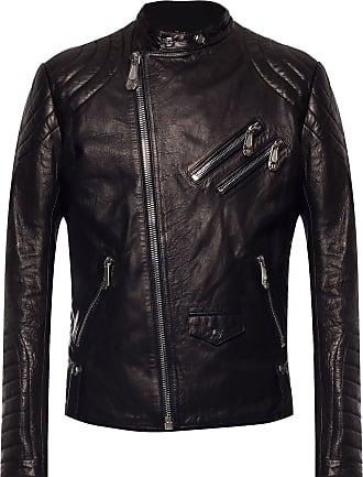 Philipp Plein Biker Jacket With Logo Mens Black