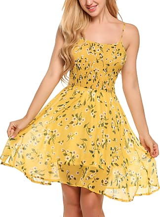 Zeagoo Womens Chiffon Dress Flower Print Dress Bandeau Dress Floral Summer Dress Spaghetti Straps Dress - Yellow - XL (Herstellergröße:XL)