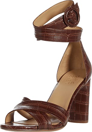 Naturalizer Womens RINNA Heeled Sandal, Brown Crocco, 6.5 Wide