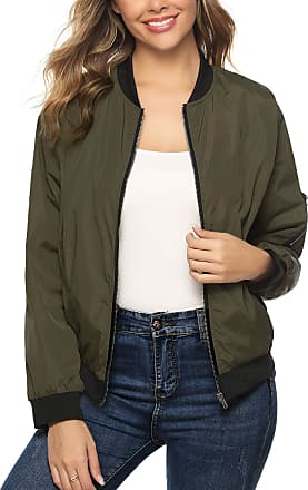 Aibrou Women Bomber Jacket Casual Lightweight Zip Up Softshell Flight Coat Classic Jacket with Pockets Army Green