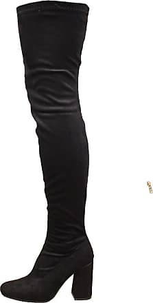 Saute Styles Womens Over The Knee Thigh High Block Heel Stretch Party Boots Size 3 Black