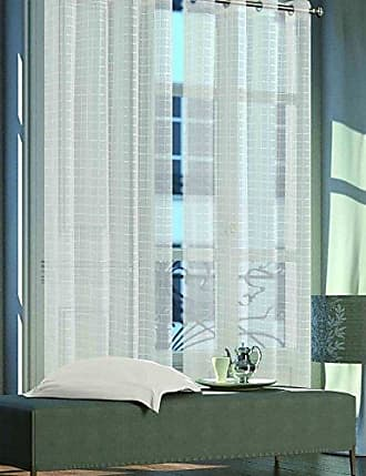 Dainty Home Eleni Plaid Grommet Window Panel Pair (Set of Two) 108x84, Ivory