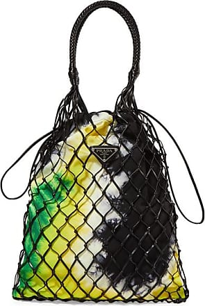 705044db534c10 Prada String Tie-dyed Canvas And Leather Tote - Black