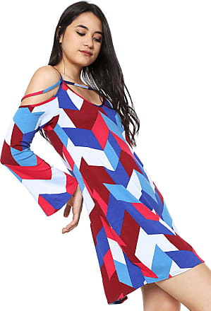 44dd7927e Malwee Vestido Malwee Curto Estampado Azul/Vermelho