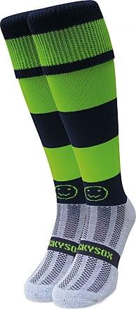 Wackysox Rugby Socks, Hockey Socks - Navy Blue and Lime Hoop Sports Socks