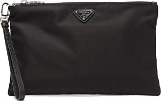 Prada Enamel Logo-plaque Nylon-poplin Pouch Bag - Mens - Black