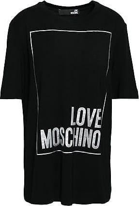 dde916e091875 Love Moschino Love Moschino Woman Metallic Printed Stretch-modal T-shirt  Black Size 44