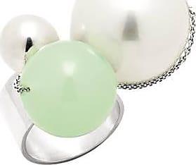 Misaki Bague large Louise verte rhodiée avec perle blanche - taille 50
