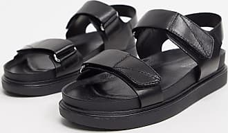 Vagabond Erin double strap leather flat sandals in black