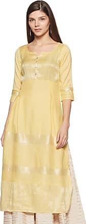 Aurelia Womens A-Line Kurta (18AUA10029-300007_Yellow_XX-Large)
