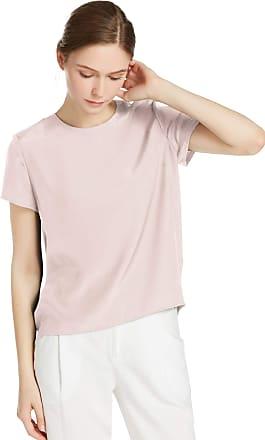 LilySilk Womens Charmeuse Silk T Shirt Tunic Blouse Top Ladies Short Sleeve 22 Momme Pure Silk (Light Beige, L/16)