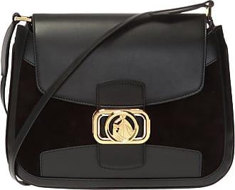 Lanvin Swan Shoulder Bag With Logo Womens Black