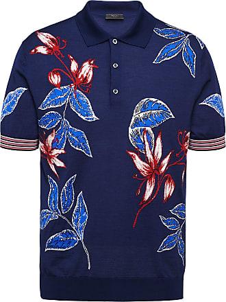 Prada Camisa polo de jacquard floral - Azul