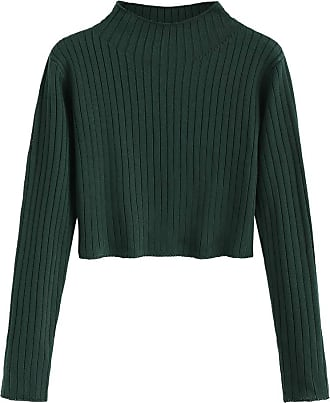 Zaful Zaful Womens Solid, Slim, Striped, Cropped Long Sleeve Sweatshirt / Pullover - Green - L