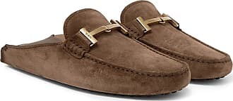 Tod's Gommino Collapsible-heel Nubuck And Leather Driving Shoes - Brown