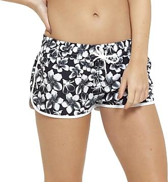 Tom Franks Ladies Monochrome Flower Print Beach Shorts 12-14 Black