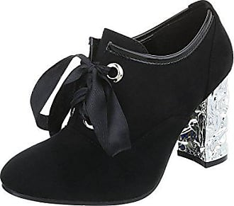 61848a50532c9e Ital-Design Ankle Boots Damen-Schuhe Ankle Boots Pump High Heels  Schnürsenkel Stiefeletten Schwarz