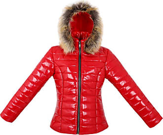 Parsa Fashions Womens Wet Look Vinyl PVC PU Faux Leather Shiny Puffer Bubble Jacket S to XXL (2XL, Red)