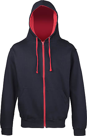 Awdis Awdis Mens Varsity Hooded Sweatshirt / Hoodie / Zoodie (M) (French Navy/Fire Red)