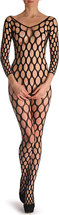 Liss Kiss Large Mesh Holes with Quarter Sleeves Bodystocking - Black Lace Designer Bodystocking